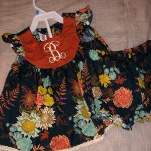 Ricrac and Ruffles Fall dress 12m with bloomers